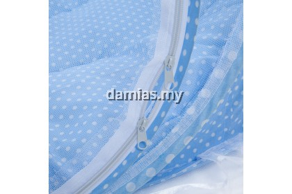 4PCS BABIES MATTRESS PILLOW PORTABLE FOLDABLE CRIB WITH MOSQUITO NET (BLUE)