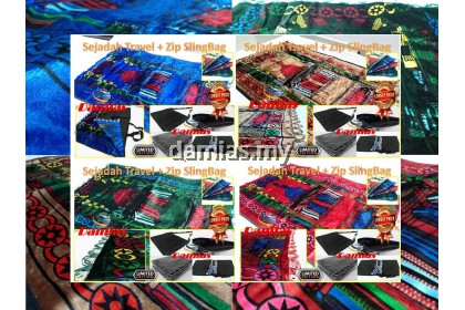 Sejadah Turki Travel + Zip Sling Bag Prayer Mat 120 cm x 70 cm x 5mm [ Umrah ]